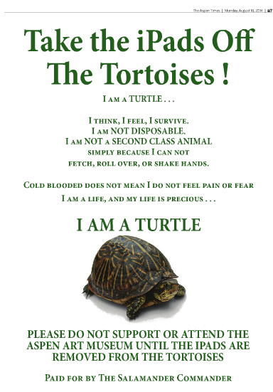Update: Activists  Buy Full Page Ads To Shut Down iPad-Wearing Tortoise Exhibit