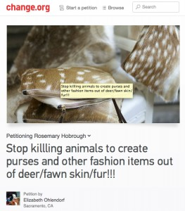change petition deer fur