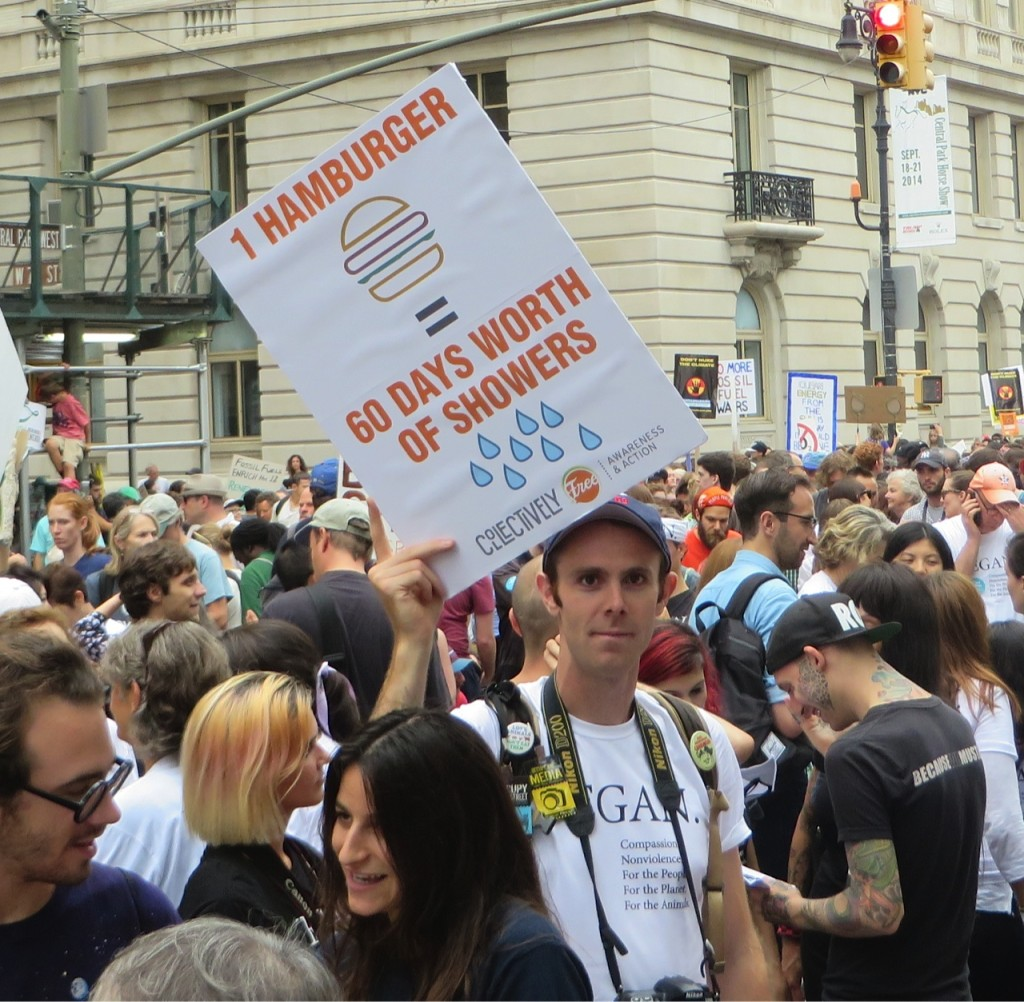 2014 Climate March participants highlighted impact of animal agriculture on water supply