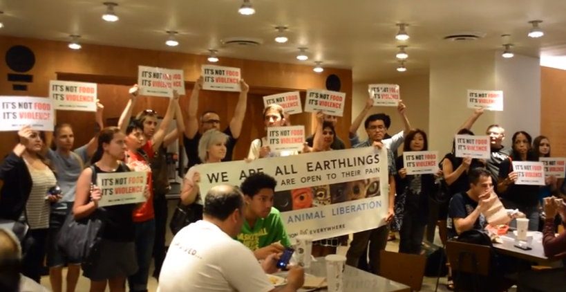 animal rights protest at Chipotle