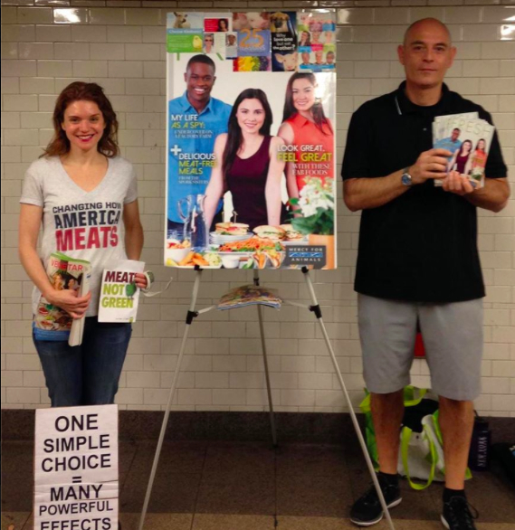 Vegan outreach in the subway