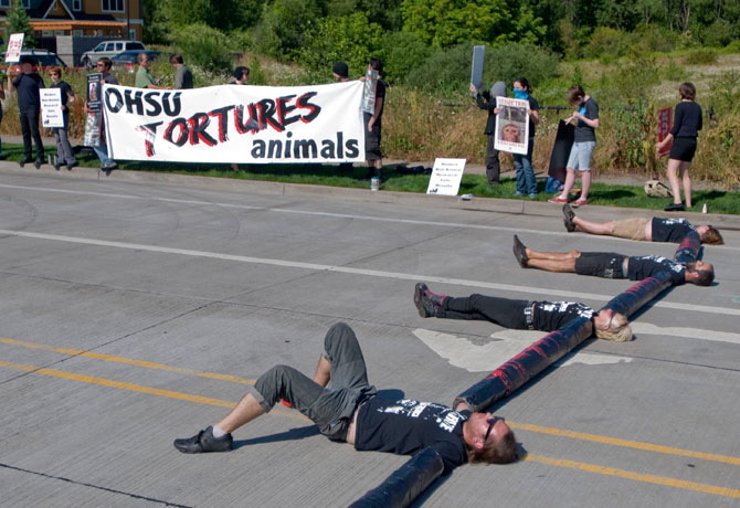 Protesters block OHSU animal research site in 2010 (photo: Brent Wojahn/The Oregonian)