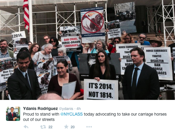 NYC Council Member Tweets Support of Horse-drawn Carriage Ban