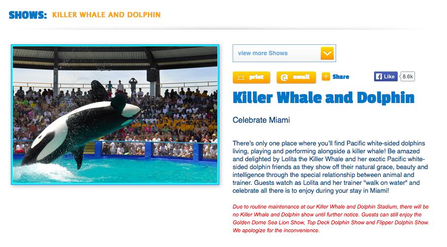 Statement on Seaquarium website