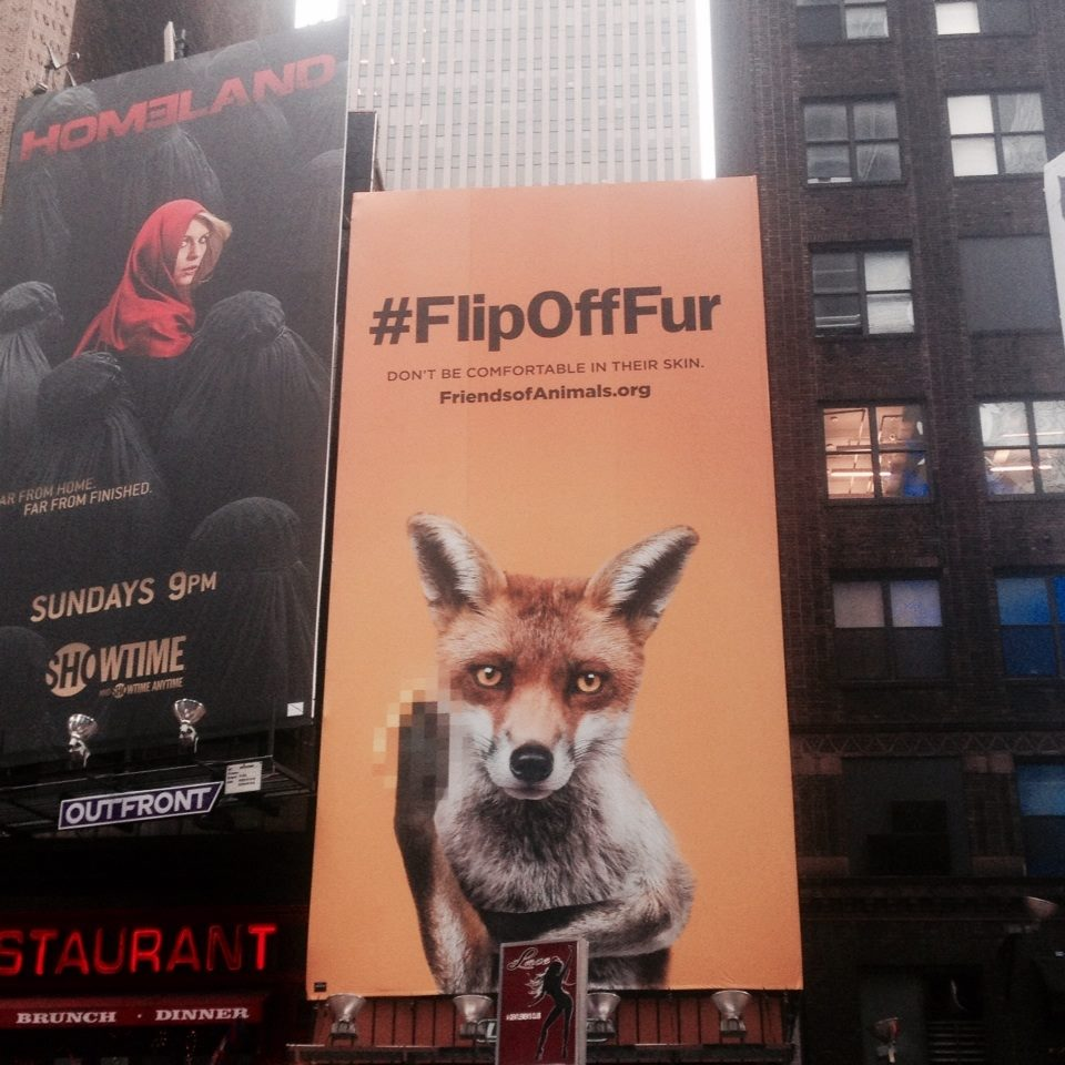 Friends of Animals (FOA) anti-fur billboard in Times Square