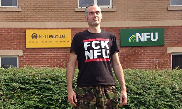 Activist Jay Tiernan has a strong message for the National Farmers' Union (photo: The Guardian)