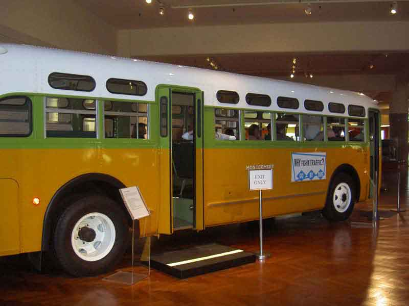 Rosa Parks agitated by illegally sitting at the front of this bus, which is now a symbol of the Civil Rights movement.