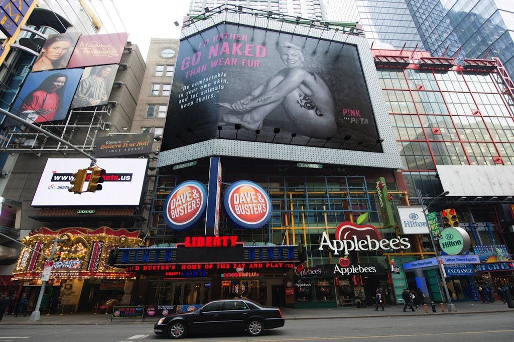 PETA's Anti-fur billboard in Times Square (photo:Slobadan Randjelovic)