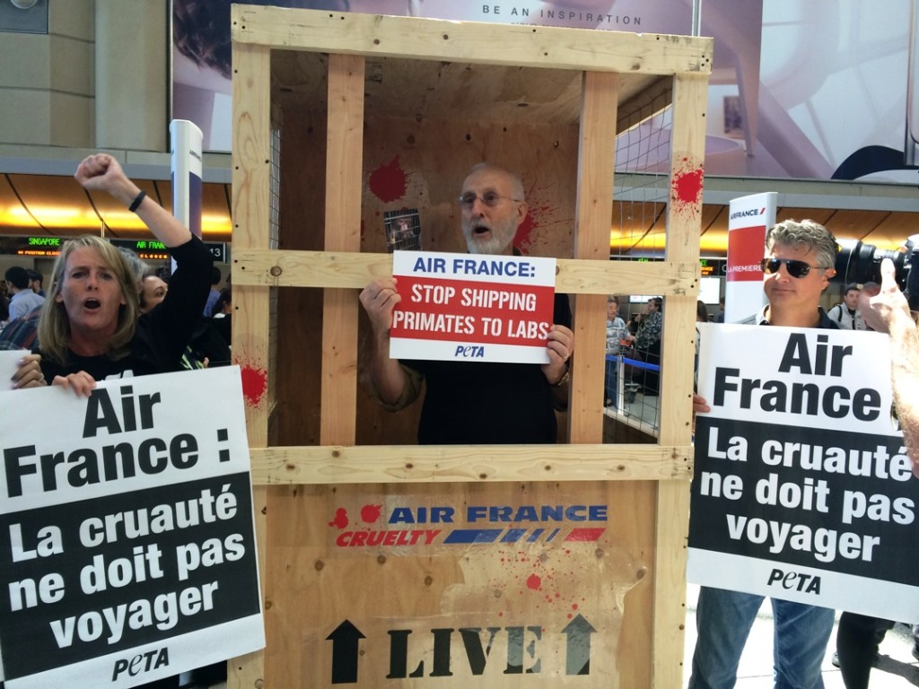 Actor James Cromwell protests against Air France