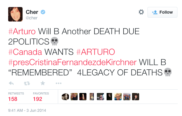 Cher Tweets for Arturo the Polar Bear
