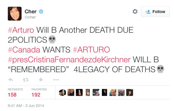 Cher Tweets for Arturo the Polar Bear
