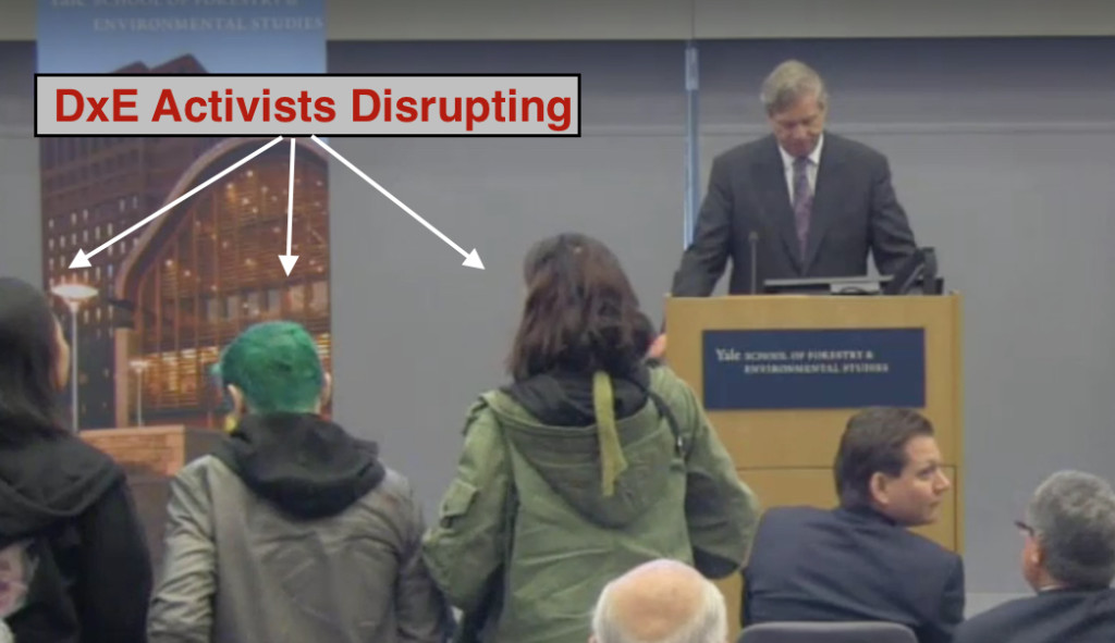 DxE activists disrupt USDA Secretary Tom Vilsack after he minimized animal abuse on factory farms