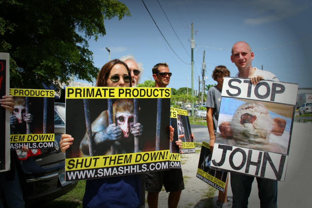 Animal rights activists in Florida protest Primate Products