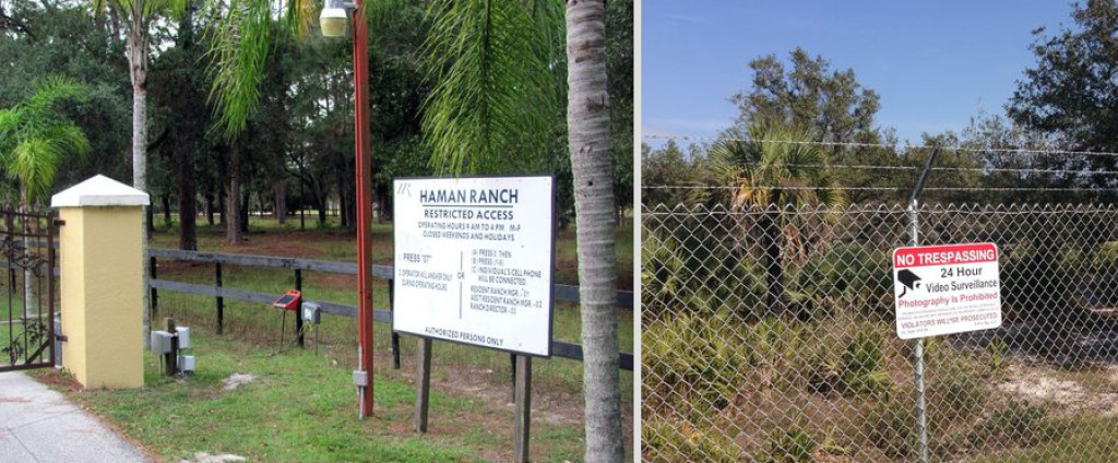 Secret monkey breeding facilities are hidden behind gates at the end of long, private dirt roads dotted with trespassing signs