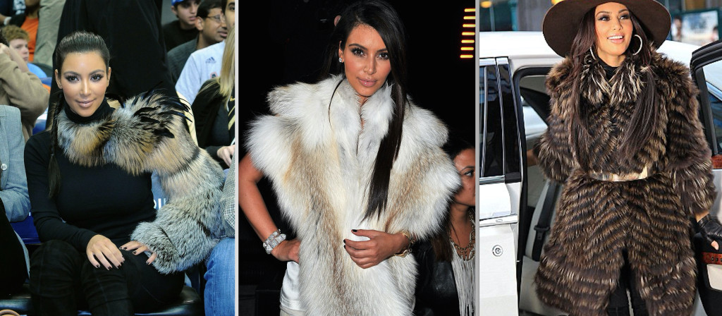 Kim Kardashian has been photographed in dozens of fur garments.