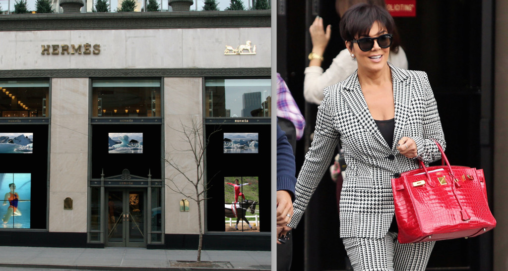 Reality star Kris Jenner wears Hermès purse made from alligator skin (photo: purseblog.com)