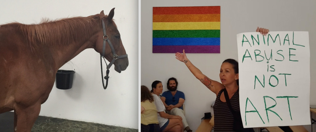Animal rights activists protest an art exhibit that consists of live horse