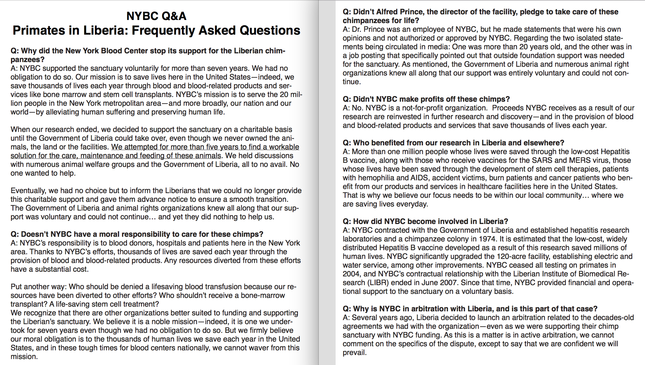Q&A Posted on NYBC's website on August 6th