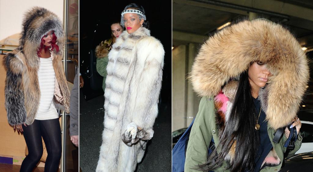 Rihanna has been photographed wearing dozens of fur garments.