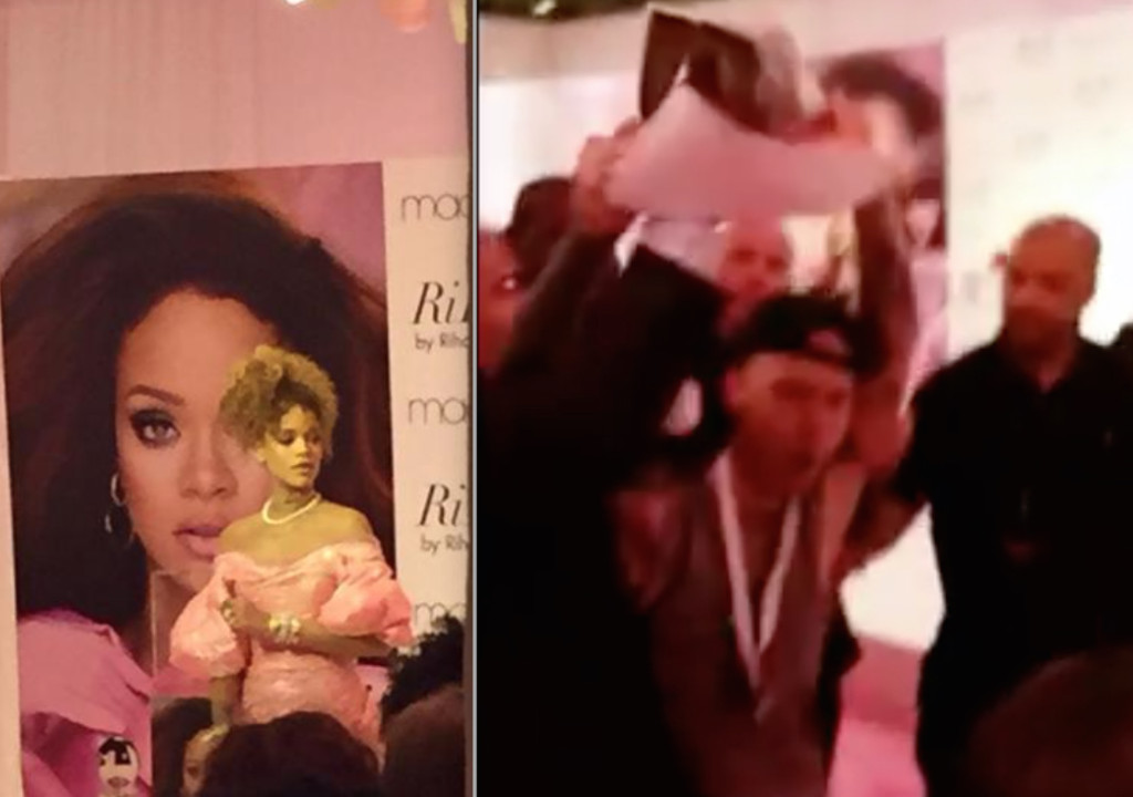 Anti-fur disruption at Rihanna's fragrance promotional event in NYC.