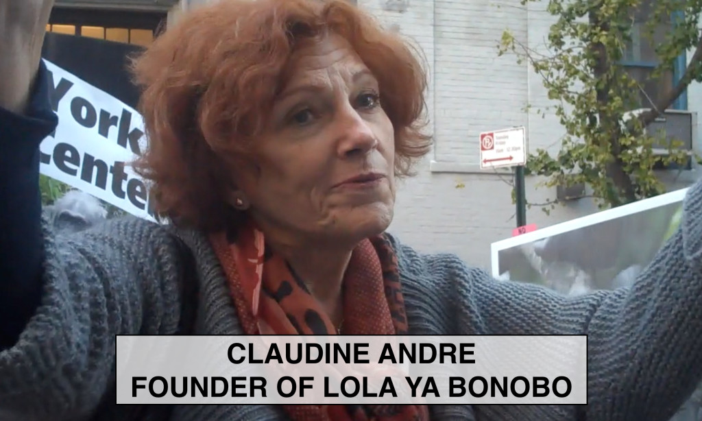 Claudine André speaks at New York Blood Center protest