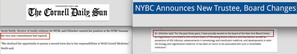 Cornell and NYBC issued conflicting statements about Dr. Glimcher's length of service on the board, and neither is true.