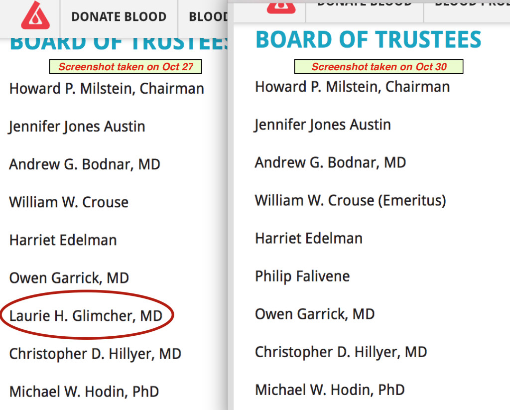 Dr. Glimcher's name was removed from the Board of Trustees on the NYBC website between 10/27 and 10/30