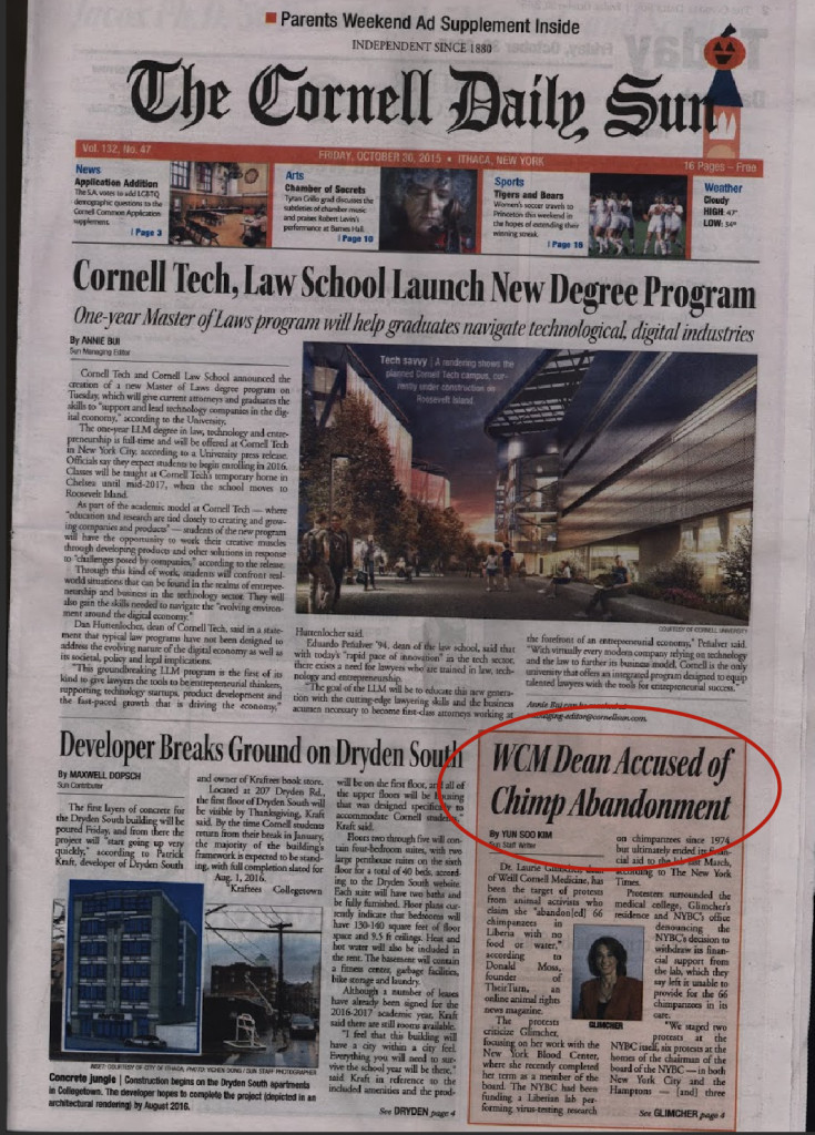 Glimcher chimp scandal on the cover of the Cornell Daily Sun