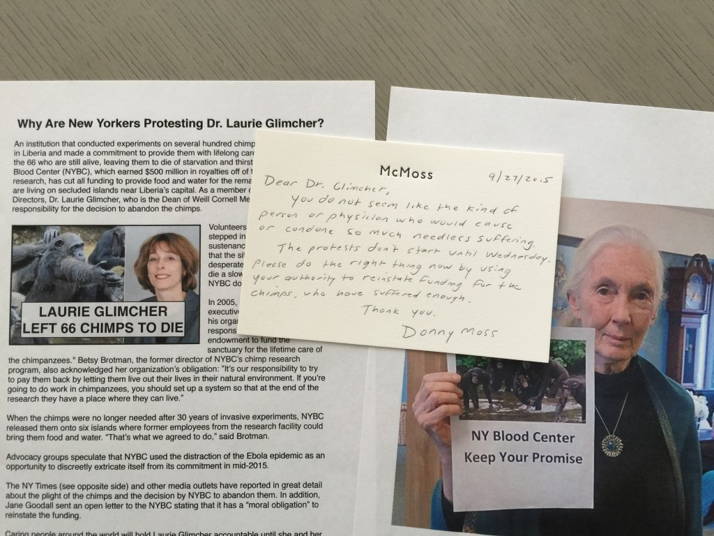 Hand-written letter delivered to Dr. Laurie Glimcher in advance of protests at her home and office