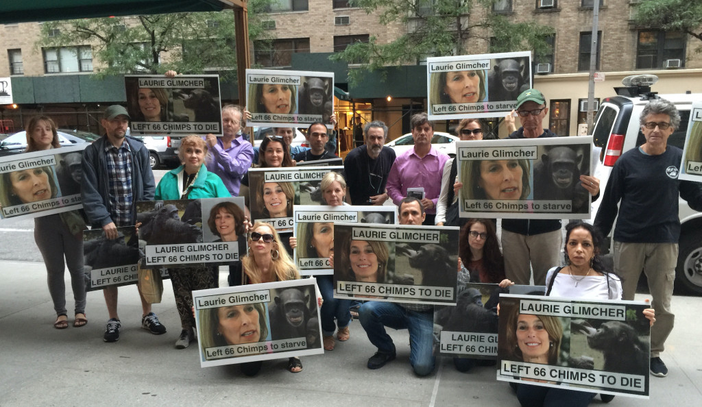 Activists protest at home of Dr. Laurie Glimcher of NY Blood Center