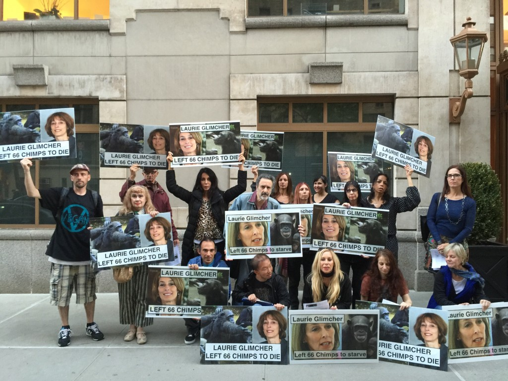 Activists protest Dr. Laurie Glimcher of the New York Blood Center at her 16 room condo in NYC