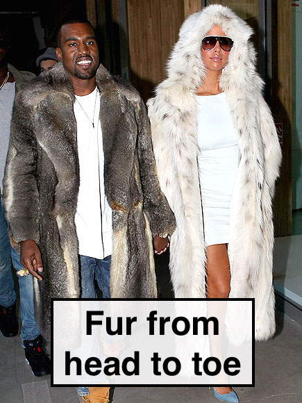 Kayne West & Amber Rose wear full length fur coats
