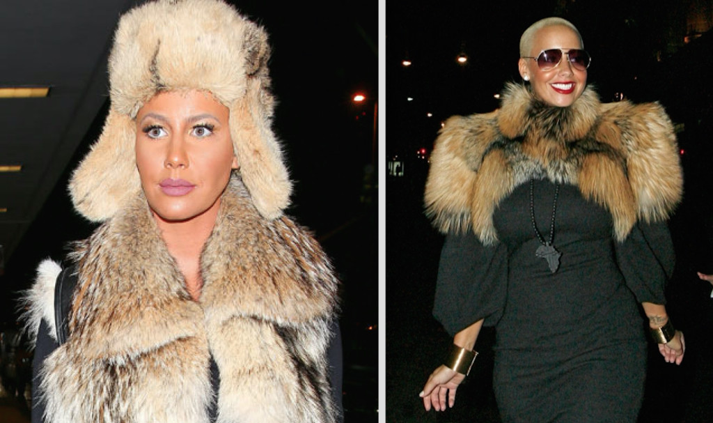 Amber Rose has worn full length fur coats and other fur garments in public
