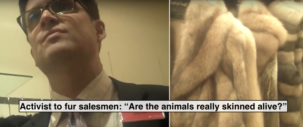 "Activist confronts fur salesman in the ""Fur Vault"" at Macy's"