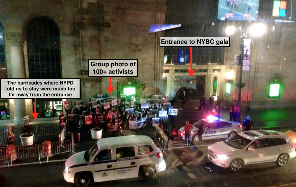NYBC donors did not anticipate encountering over 100 protesters as they entered the gala