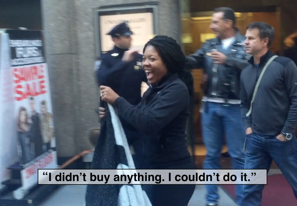 Shopper leaves fur store after reading CAAF's handout