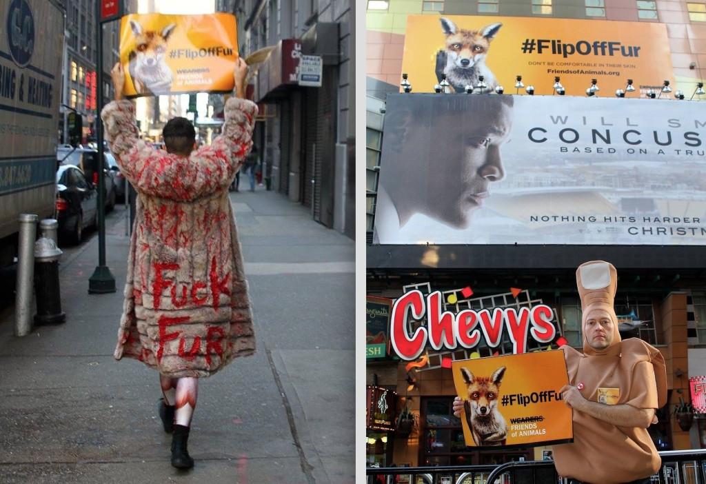 """Michael Dolling (left) and Bernard Jones """"flip off fur"""" near the FOA billboard in Times Square"""