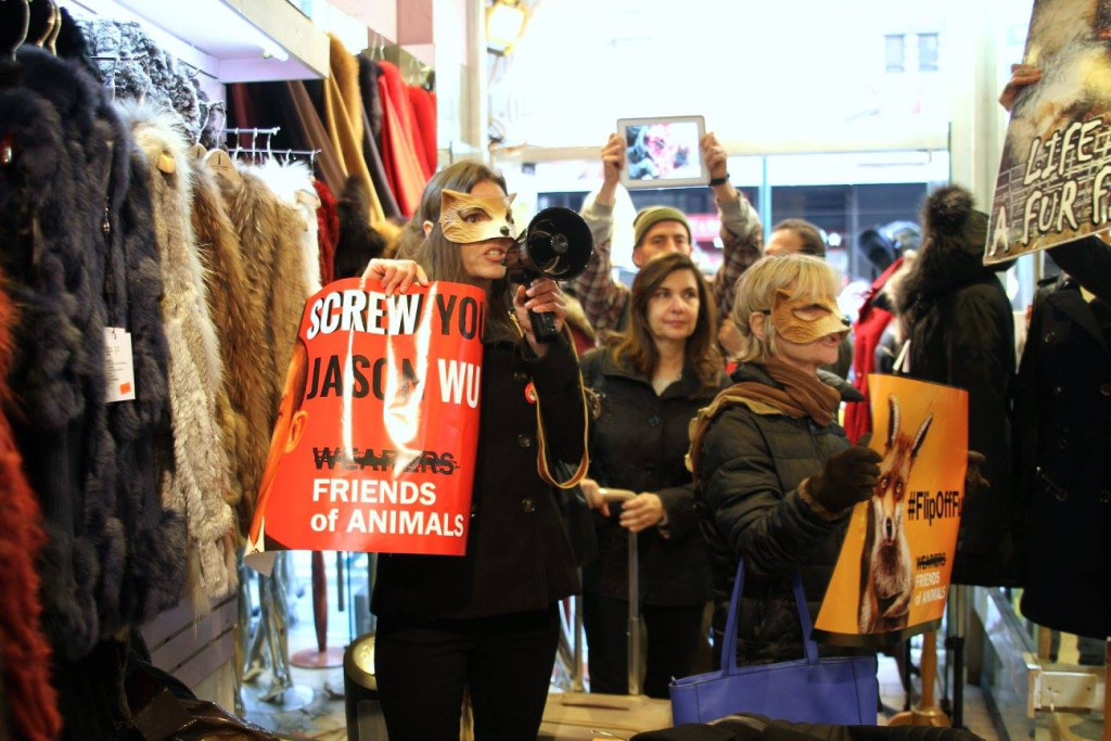 Animal rights activists occupy the NYC fur store Prato