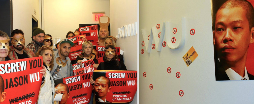 "Activists paste ""Flip Off Fur"" stickers at the entrance of the Jason Wu showroom"