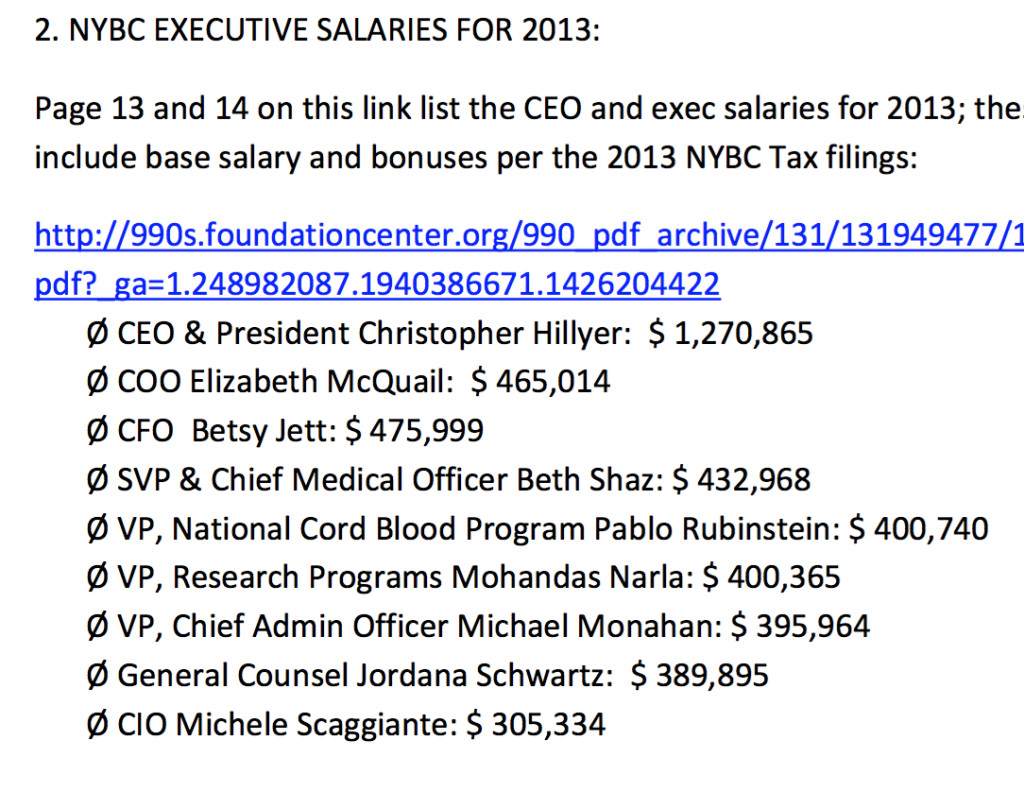 """NYBC states on its website that the charity cannot divert funds from its lifesaving work to """"other efforts,"""" but it can pay its executives hundreds of thousands of dollars?"""