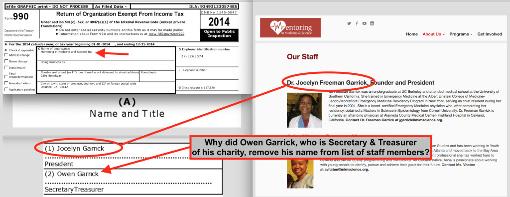 After the protests, Owen Garrick removed his name as an employee of the charity he created. He runs his business out of the office of this charity, but his business is not listed on the company directory in the lobby of his building.