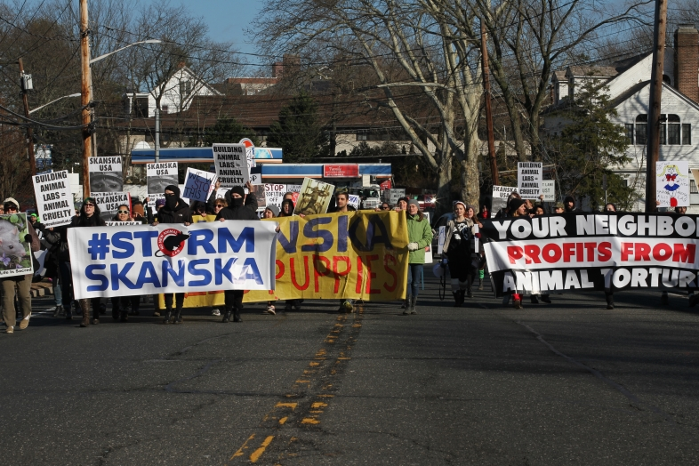 Activists with No New Animal Lab march through Richard Cavallaro's neighborhood in Huntington, NY