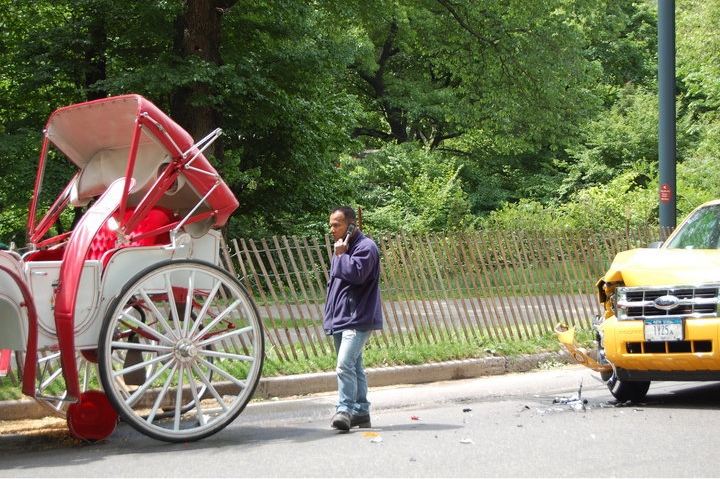 A taxi crashes into a horse-drawn carriage in Central Park