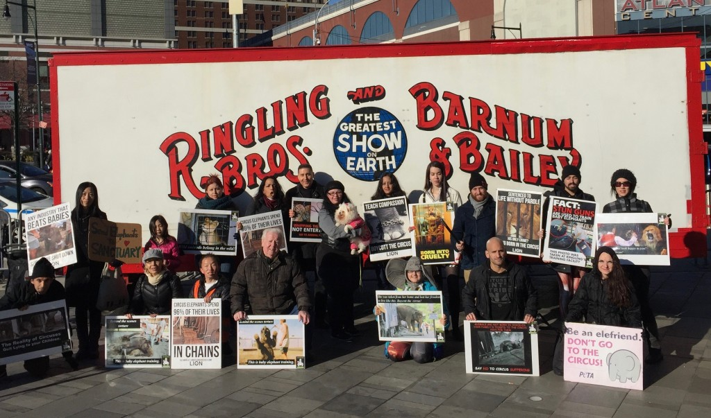Ringling protest organized by Animals Battalion and LION