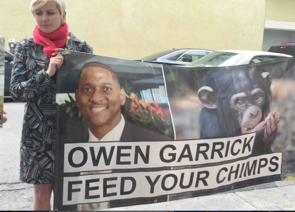 Animal rights activists stage protest in Oakland at the office building of NY Blood Center Board Member Owen Garrick