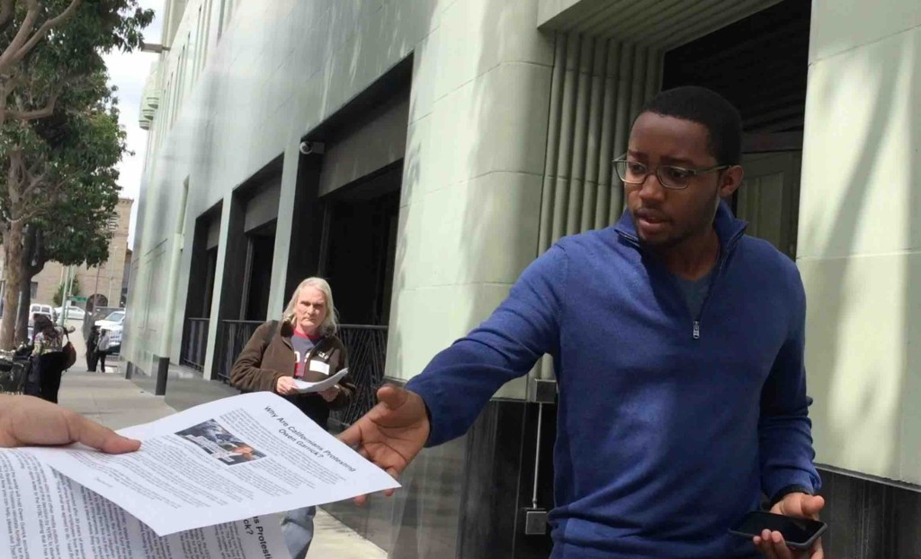Advocates distributed several hundred handouts to Owen Garrick's neighbors in Oakland, CA