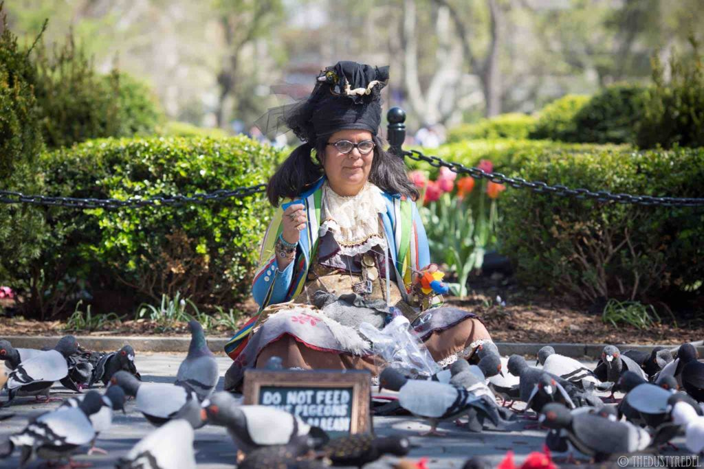 Pigeon advocate Tina Trachtenburg educates the public about pigeons
