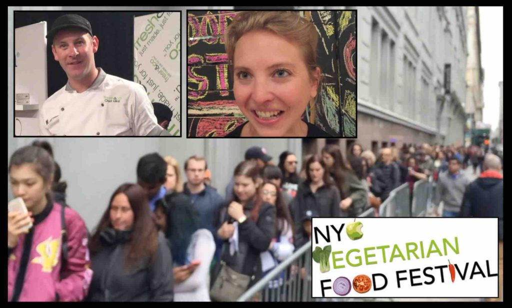 Thousands of people line up to enter the NYC Veg Food Fest.