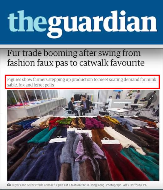 A 2015 article by the Guardian documented the rise of the fur industry.