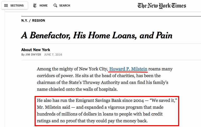 NY Times article reporting on a federal trial regarding subprime loans given by Emigrant Bank when Howard Milstein was its CEO.